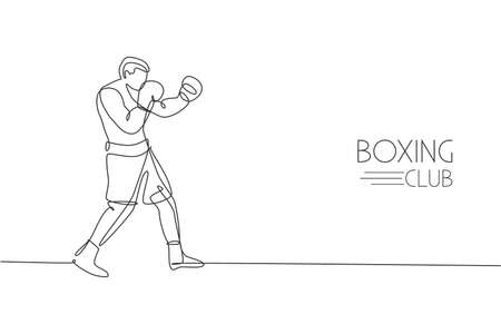 One continuous line drawing of young sporty man boxer improve defense skill. Competitive combat sport concept. Dynamic single line draw design vector illustration for boxing match promotion poster