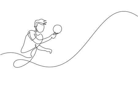 Single continuous line drawing of young agile man table tennis player focus practicing. Sport exercise concept. Trendy one line draw design vector illustration for tournament promotion media