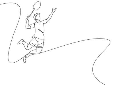 Single continuous line drawing of young agile badminton player jump and smash the ball. Sport exercise concept. Trendy one line draw design vector illustration for badminton tournament publication