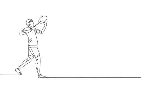 One continuous line drawing of young badminton player ready to hit shuttlecock with racket. Sport concept. Dynamic single line draw design vector illustration for tournament match promotion poster