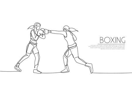 Single continuous line drawing two young agile women boxer practice fighting duel. Fair combative sport concept. Trendy one line draw design graphic vector illustration for boxing game promotion media Çizim