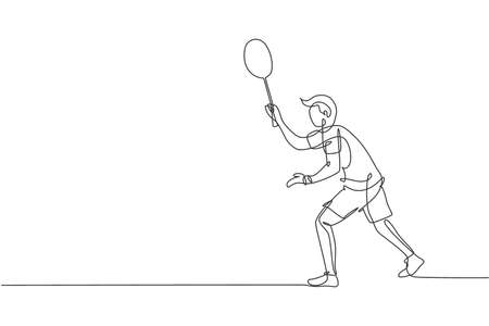 Single continuous line drawing of young agile badminton player wait for opponent serve. Competitive sport concept. Trendy one line draw design vector illustration for badminton tournament publication