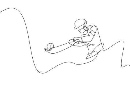 Single continuous line drawing young agile indian man cricket player hit the ball precisely vector graphic illustration. Sport exercise concept. Trendy one line draw design for cricket promotion media