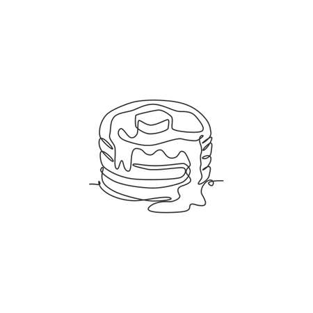 One single line drawing fresh stacked pancake with butter logo vector graphic illustration. Breakfast food cafe menu and restaurant badge concept. Modern continuous line draw design food shop logotype Ilustração