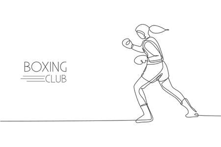 Single continuous line drawing of young agile woman boxer focus to train her hook punch. Fair combative sport concept. Trendy one line draw design vector illustration for boxing game promotion media Ilustração Vetorial