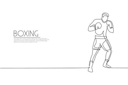 Single continuous line drawing of young agile man boxer improve his fight stance at gym. Fair combative sport concept. Trendy one line draw design vector illustration for boxing game promotion media Çizim