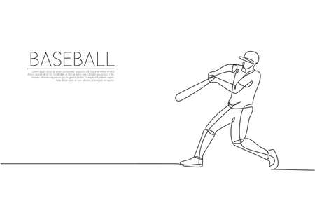 Single continuous line drawing of young agile man baseball player practice to hit ball at field. Sport exercise concept. Trendy one line draw design vector illustration for baseball promotion media