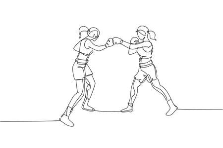 One continuous line drawing of young sporty woman boxer bump their fist punch. Competitive combat sport concept. Dynamic single line draw design vector illustration for boxing match promotion poster