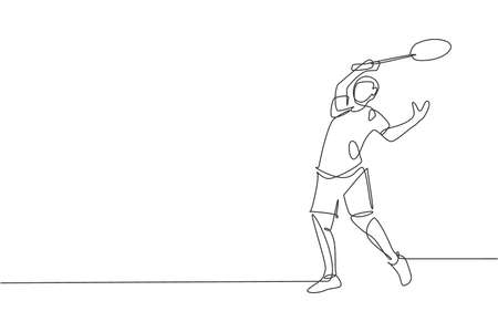 One continuous line drawing of young badminton player defense to take opponent hit with racket. Competitive sport concept. Dynamic single line draw design vector illustration for tournament poster