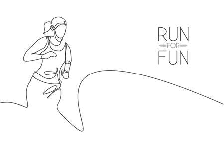 Single continuous line drawing of young agile woman runner hobby to run relax and calm. Healthy sport action concept. Trendy one line draw design graphic vector illustration for running race promotion