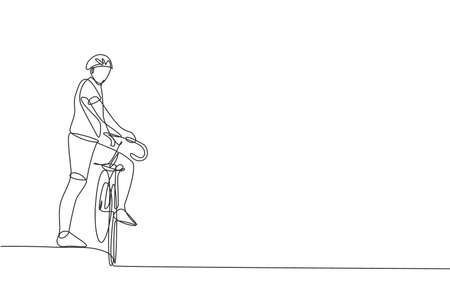 Single continuous line drawing of young agile man cyclist waiting for a friend at road side. Sport lifestyle concept. Trendy one line draw design vector illustration for cycling race promotion media