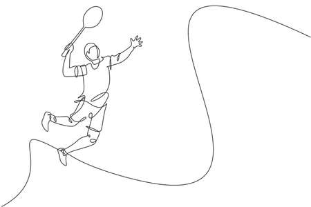 Single continuous line drawing of young agile badminton player jump hit shuttlecock. Sport exercise concept. Trendy one line draw design vector illustration for badminton tournament publication media