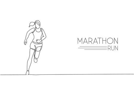 Single continuous line drawing of young agile woman runner hobby to run relax and calm. Healthy sport action concept. Trendy one line draw design graphic vector illustration for running race promotion Ilustração