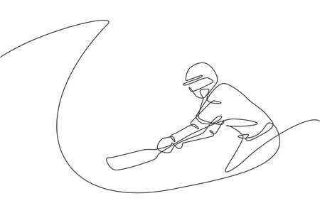 Single continuous line drawing of young agile man cricket player practice to swing the cricket bat vector illustration. Sport exercise concept. Trendy one line draw design for cricket promotion media