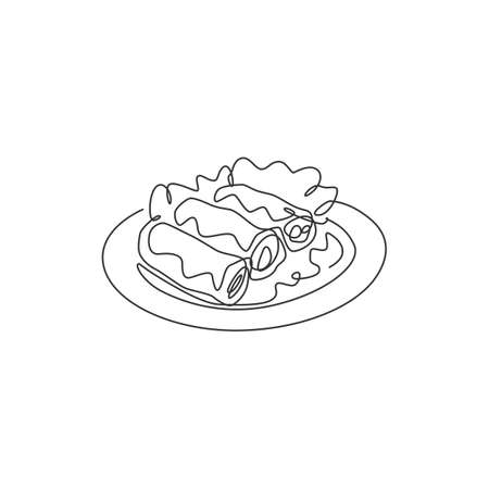 One continuous line drawing of fresh delicious Chinese spring roll restaurant logo emblem. Asian food cafe shop logotype template concept. Modern single line draw design vector graphic illustration Logo