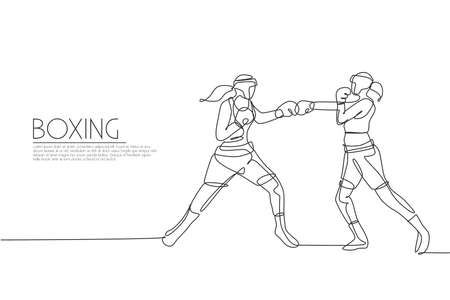 One single line drawing of two young energetic women boxer bump their fists punch vector illustration. Sport combative training concept. Modern continuous line draw design for boxing champions banner