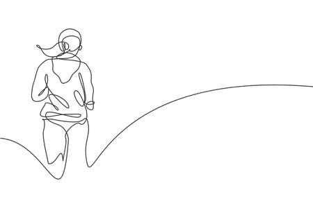 One continuous line drawing of young sporty woman runner run relax from rear view. Health activity sport concept. Dynamic single line draw design vector illustration for running event promotion poster