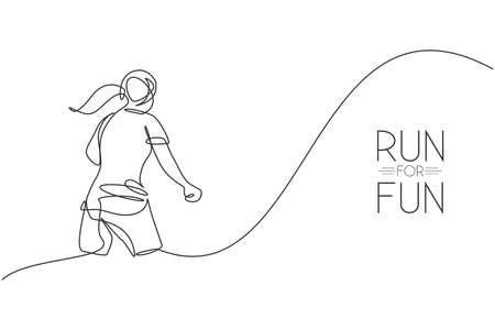 Single continuous line drawing young agile woman runner hobby to run relax, rear view . Healthy sport action concept. Trendy one line draw graphic design vector illustration for running race promotion Ilustração