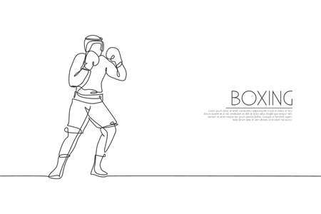 Single continuous line drawing of young agile man boxer improve his boxing defense skill. Fair combative sport concept. Trendy one line draw design vector illustration for boxing game promotion media