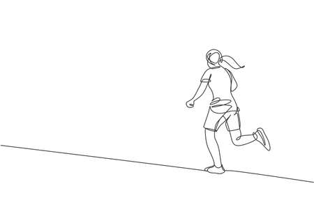 Single continuous line drawing of young agile woman runner run relax to fulfill leisure time. Healthy sport action concept. Trendy one line draw design vector illustration for running race promotion