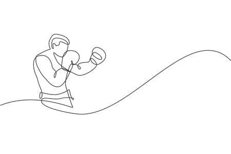One continuous line drawing of young sporty man boxer train his defense stance. Competitive combat sport concept. Dynamic single line draw design vector illustration for boxing match promotion poster