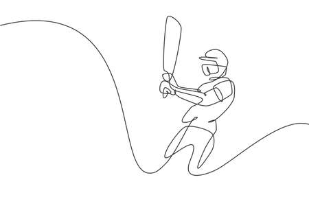 Single continuous line drawing of young agile man cricket player swing cricket bat at training ground vector illustration. Sport exercise concept. Trendy one line draw design for sport promotion media Ilustração