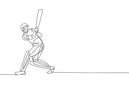 Single continuous line drawing of young agile man cricket player practicing hit the ball at field vector illustration. Sport exercise concept. Trendy one line draw design for cricket promotion media