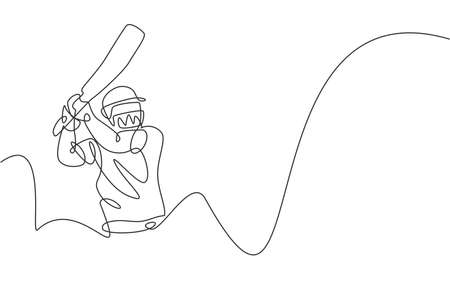 One single line drawing of young energetic man cricket player practice to hit the ball precisely vector illustration. Sport concept. Modern continuous line draw design for cricket competition banner Vettoriali