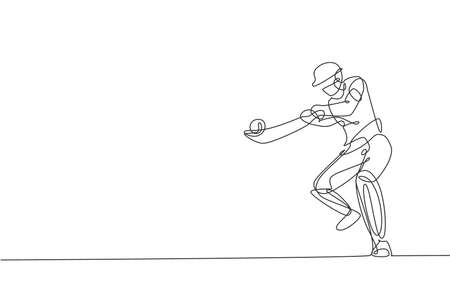 One continuous line drawing of young happy man cricket player focus to hit the ball hard vector illustration. Competitive sport concept. Dynamic single line draw design for sport advertisement poster