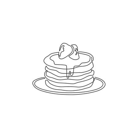 One single line drawing fresh delicious American pancake shop logo vector graphic illustration. Coffee shop menu and restaurant badge concept. Modern continuous line draw design street food logotype