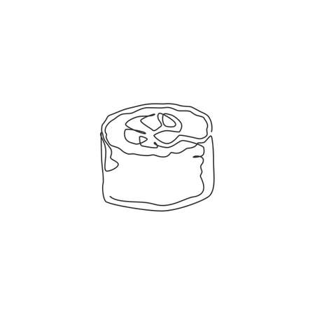 Single continuous line drawing of stylized Japanese maki sushi bar logo label. Emblem sea food restaurant concept. Modern one line draw design vector illustration for shop or food delivery service
