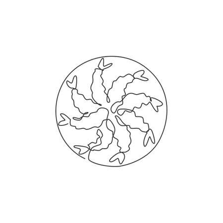 One single line drawing fresh crunchy Japanese shrimp tempura logo graphic vector illustration. Seafood cafe menu and restaurant badge concept. Modern continuous line draw design street food logotype
