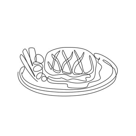 One continuous line drawing of fresh juicy delicious beef steak on hot plate. Steak restaurant template concept. Modern single line draw design graphic vector illustration