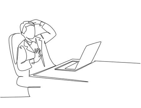 One single line drawing of young depressed manager trauma of the computer because his overload working at he office. Work traumatic life concept continuous line draw graphic design vector illustration