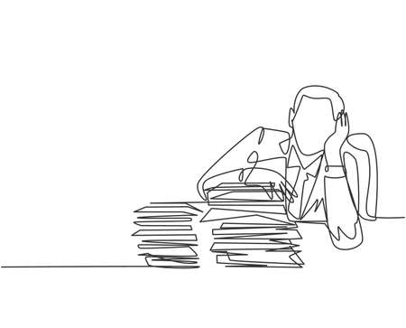 Single continuous line drawing of stressful finance manager facing pile of document papers on his desk office. Work overload project concept. Modern one line draw design graphic vector illustration