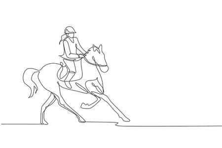 One continuous line drawing of young horse rider woman in action. Equine run training at racing track. Equestrian sport competition concept. Dynamic single line draw design vector illustration graphic