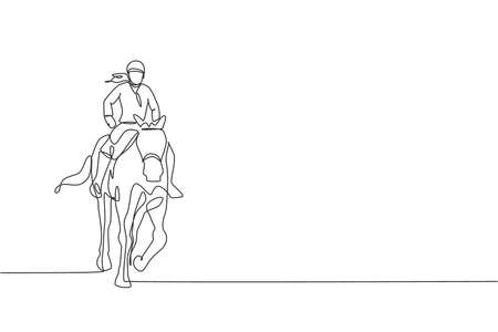 One single line drawing of young horse rider woman performing dressage test vector graphic illustration. Equestrian sport show competition concept. Modern continuous line draw design