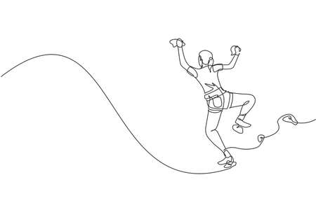 One continuous line drawing of young bravery climber woman practice overhanging wall climbing with safety rope. Dangerous extreme sport concept. Dynamic single line draw design vector illustration