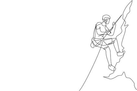 One continuous line drawing of young bravery climber man practice overhanging rock cliff mountain with safety rope. Dangerous extreme sport concept. Dynamic single line draw design vector illustration