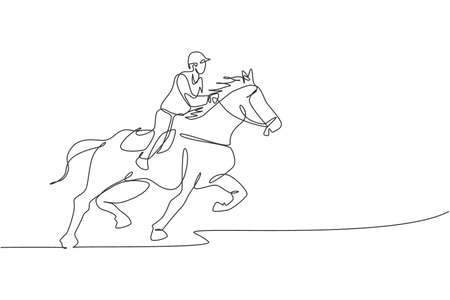 Single continuous line drawing of young professional horseback rider running with a horse around the stables. Equestrian sport training process concept. Trendy one line draw design vector illustration 矢量图像