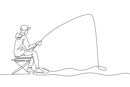 One single line drawing young happy fisher man siting relax and flyfishing at the riverside vector illustration graphic. Holiday traveling for fishing hobby concept. Modern continuous line draw design