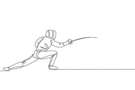 One single line drawing of young man fencer athlete in fencing costume exercising motion on sport arena vector illustration. Combative and fighting sport concept. Modern continuous line draw design