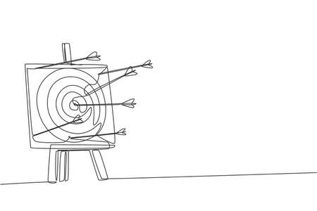 Single continuous line drawing of professional archer shot archery target not too precisely. Archery sport exercise with the bow concept. Trendy one line draw design vector illustration graphic