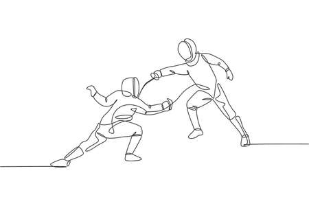 One continuous line drawing of two young men fencing athlete practice fighting action on sport arena. Fencing costume and holding sword concept. Dynamic single line draw design vector illustration
