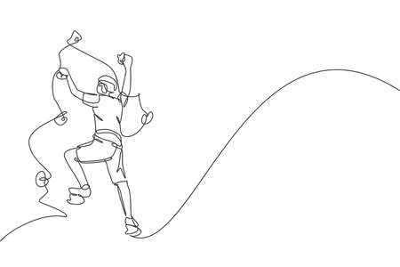 Single continuous line drawing of young muscular rockclimber man climbing hanging on mountain grip. Outdoor active lifestyle and rock climbing concept. Trendy one line draw design vector illustration