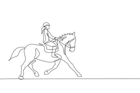 One continuous line drawing of young horse rider woman in action. Equine run training at racing track. Equestrian sport competition concept. Dynamic single line draw design graphic vector illustration