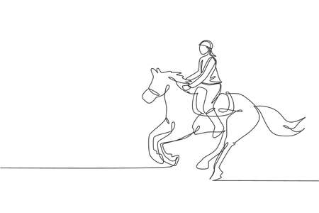 Single continuous line drawing of young professional horseback rider running with a horse around the stables. Equestrian sport training process concept. Trendy one line draw design vector illustration Ilustração