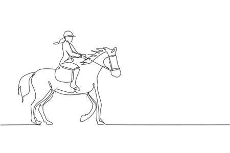 Single continuous line drawing of young professional horseback rider walking with a horse around the stables. Equestrian sport training process concept. Trendy one line draw design vector illustration