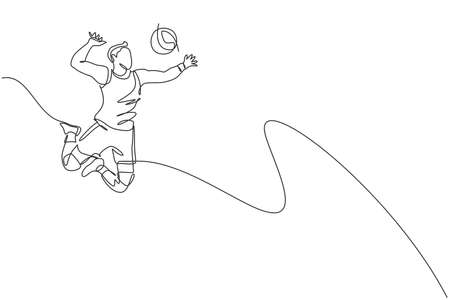 One single line drawing of young male professional volleyball player exercising jumping spike on court vector illustration. Team sport concept. Tournament event. Modern continuous line draw design