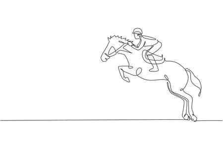 One single line drawing of young horse rider man performing dressage jumping test vector graphic illustration. Equestrian sport show competition concept. Modern continuous line draw design